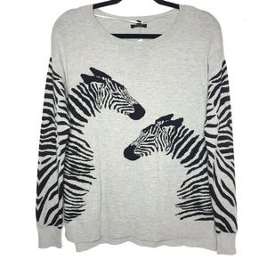 Sweaters - Zebra Animal Print Grey Sweater NWT Size XS